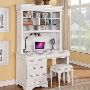 Acme 30135 Classique collection white finish wood children's desk hutch and stool