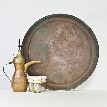 19.4'' Large Mediterranean Tray: Vintage Copper Tray, Table Top / Side Table, Oriental Home Decor, Distressed Metal, Middle Eastern Decor