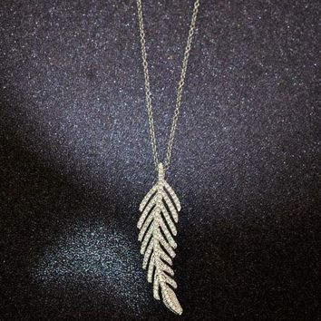 CREYUP0 Tiffany Women Fashion Feather Plated Necklace Jewelry