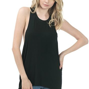 This sleeveless rayon top features a low & wide open armhole, scoop neckline, and finished with asymmetrical bottom hemline. Unlined.