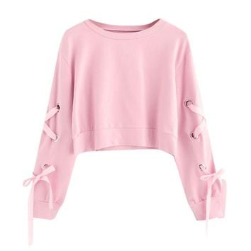 Pink Sweatershirt Oversized Hoodie Women Casual Lace Up Long Sleeve Pullover Crop Top Solid Sweatshirt Dropshipping #F#40AT24