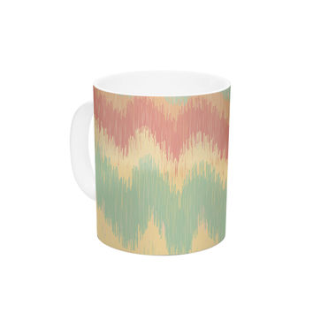 "Nika Martinez ""Ikat Chevron II"" Teal Ceramic Coffee Mug"