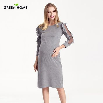 Ruffled Sleeves Fitted Long Sleeve Maternity/ Nursing Dress