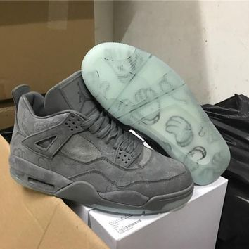 KAWS x Air Jordan 4 Retro Cool Grey Basketball Shoes 930155-003 retro 4 VI Glow In The Dark grey suede shoes for men Sports Sneakers-1