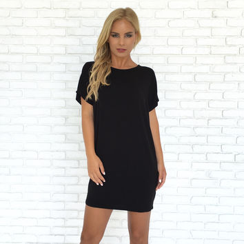Simply Crossed Jersey Dress In Black