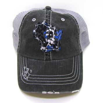 Wisconsin Hat - Gray and Black Distressed Trucker Hat - Blue Black Wildflower Applique - All States Available