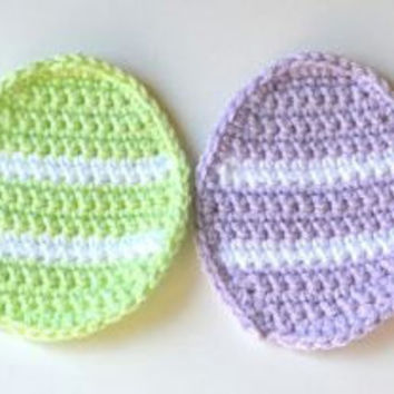 Easter Egg Coasters, Set of 4 Crocheted Decorative Coasters