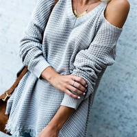 Hebegal V Neck Hollow-out Acrylic Sweaters - Hebegal | Women Fashion Online Store