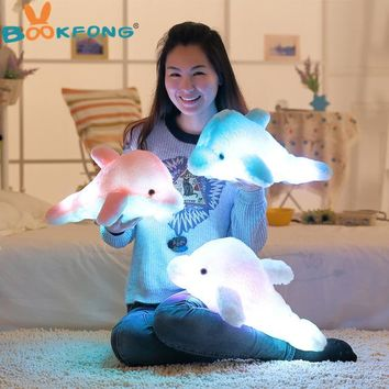 BOOKFONG 45cm Colorful Led Light Pillow Cushion Cute Dolphin Stuffed Plush Doll Toy Girl Birthday Gift