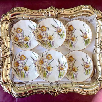 Vintage China Saucers, Royal Albert China, Yellow Daffodil Plates, March Flower of Month Plates, Shabby Chic Decor China Plates for Crafts