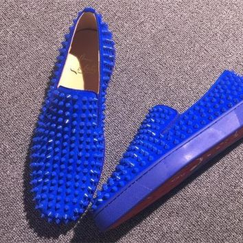 DCCK Christian Louboutin Slip On CL fashion casual shoes red sole for men and women jeans 90526