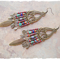Boho Cowgirl Earrings, Long  Colorful Chandelier Assemblage Earrings, Bohemian Jewelry, Boho Style Me, Kaye Kraus