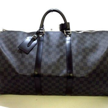 Auth LOUIS VUITTON Keepall Bandouliere 55 N41413 Damier Graphite MB1121