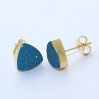 Zj5562 Amazing Sale! Blue Sugar Druzy Gold Plated Stud Earring Jewelry For Girls