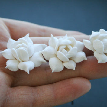Bridal hair pin set - White Gardenia, Bridal Flower Hair Pin, Wedding Hair Pins, Bridal flower pins, Bridal hair flower, Flower hair pins,