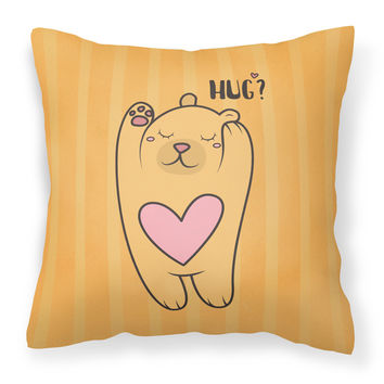 Nursery Hug Bear Fabric Decorative Pillow BB7470PW1414