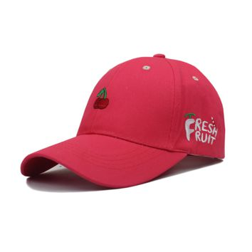 Red Fresh Fruit Embroidered Baseball cotton cap Hat