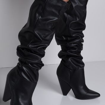 Ruched Shaft Pointed Toe Pull On Cone Heel Boots in Chestnut, Black