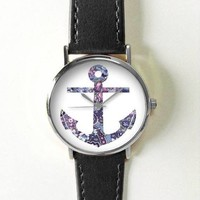 Anchor Watch , Vintage Style Leather Watch, Women Watches, Boyfriend Watch, Men's watch, Summer, Freeforme
