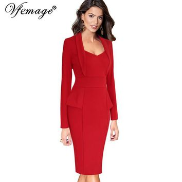 Vfemage Womens Autumn Winter Elegant Long Sleeve Peplum Slim Wear to Work Office Business Party Bodycon Pencil Sheath Dress 8291