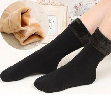 DCCKWA2 Fashion Wool Cashmere Women Thicken Thermal Soft Casual Solid Winter Warm Socks