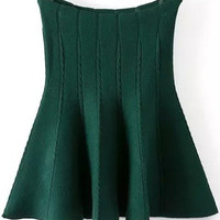 Green Knitted Flare Mini Skirt