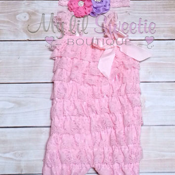 Light pink lace petti romper and trio headband, 2pc outfit, Easter outfit, spring outfit, pastel outfit, birthday outfit