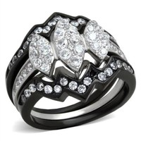 Black & Silver CZ Stainless Steel Wedding Ring Set