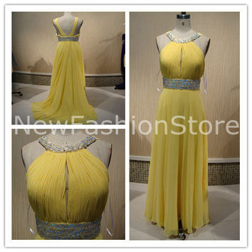 A Line Halter Sleeveless Beading Floor Length Yellow Prom Evening Dress