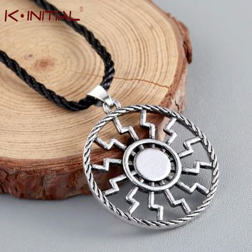 Kinitial Antique Sliver Black Sun Slavic Pendant Sun Wheel Necklace Norse Occult Symbol Amulet Man/Woman Jewelry Accessories