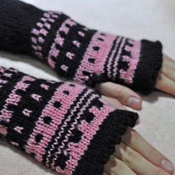 Knit mittens - Gloves - Fingerless - warm knit mittems