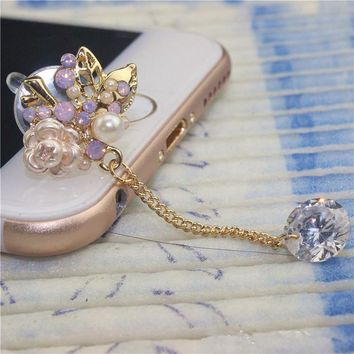 1Pcs 2017 Hot sale Korea style flower design Mobile phone front dust plug