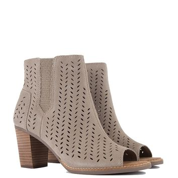 Toms Majorca Peep Toe Bootie in Taupe Suede