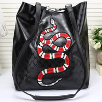 shosouvenir :Gucci Women Leather Snake Pattern Shoulder Bag Daypack Backpack