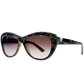 Valentino Brown Pearl Cateye Sunglasses