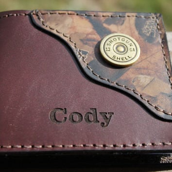 Handcrafted Classic  Dark BROWN Leather Bifold Wallet with Camo Corner/Shotgun Shell accent in corner...Personalized Free!