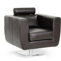 Club Chair Swivel-Action Dark Brown