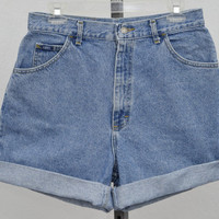 "Vintage 90s Lee High Waisted Denim Shorts, Blue Jean Shorts, High Rise Shorts, Mid Thigh Shorts 30"" Waist"