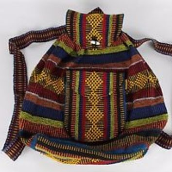 Mexican Blanket Backpack Pinzon Artesanias Boho Colorful Woven Baja Bag Aztec