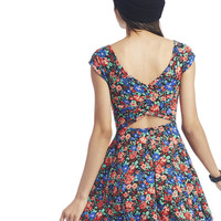 Blooming Cross-Back Skater Dress | Wet Seal