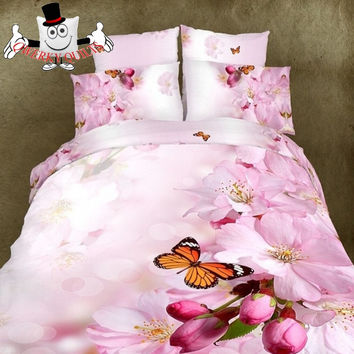 3D Bed Set Butterfly Pink Blossom Bedding Set and Quilt Cover