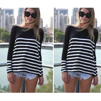 Autumn Hot Sale Casual Stripes T-shirts [7322413761]