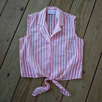 Striped Tie Crop Top // XS S // Women's Shirt // Cropped // White Pink Button Down // 90s 1990s Vintage // Hipster Steven Alan // Tiny Tank