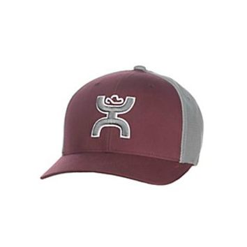 HOOey Burgundy and Grey Two Tone Cowboy Logo Flex Fit Cap