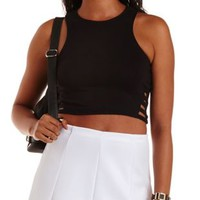 Black Caged Cut-Out Crop Top by Charlotte Russe