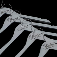 Personalized White Wood Engraved Wedding Dress Hanger, Custom Bridal Hanger, Bridesmaid Hanger Favor