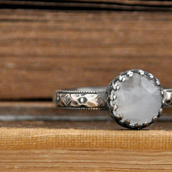 STERLING MOONSTONE RING,  hand made floral band oxidized sterling silver ring with natural faceted rainbow moonstone