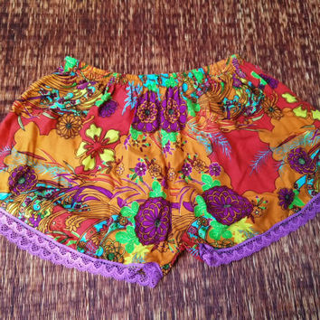 Lace shorts paisley Floral fabric prin boho Chic Fashion Vintage tassels Clothing Bohemian Ikat Clothes Cute Summer Beach girl in Orange