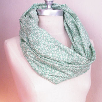 Infinity Scarf Mint Green and White Floral Print Cotton Fabric Circle Scarf, Loop Scarf