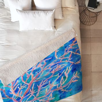Rosie Brown Coral Fan Fleece Throw Blanket